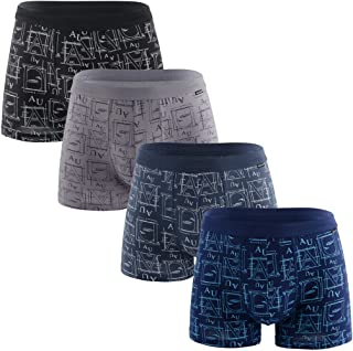 8d1f06fb6b0 Knitlord Men's Boxer Briefs Modal Bamboo Cotton Underwear 4 Pack Letter  Printing Shorts