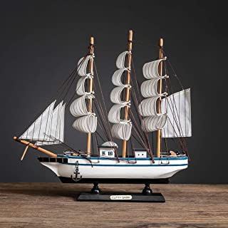Sailing Ship Model Decor,Wooden Miniature Sailing Boat Model Handmade Vintage Nautical Sail Ship 7.87x1.77x7.87 Inch for Tabletop Ornament, Ocean Theme Home Decor - 15 Colors (J)