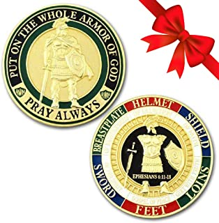 Symbol Arts Armor of God Challenge Coin - Gold - Collector's Medallion - Jewelry Quality