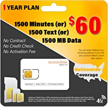 1 Year Service - $60 Preloaded GSM Mobile SIM Card - Rollover Plan - No Contract