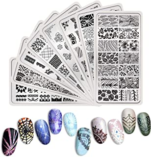 BORN PRETTY Nail Art Stamp Templates Lace Flower Heart Grids Design Stamping Image 8Pcs Rectangle Stamp Plates