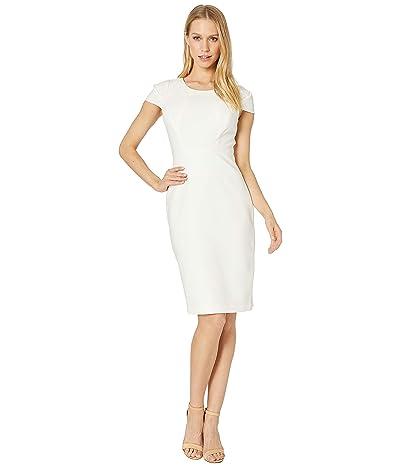 Halston Heritage Short Sleeve Scoop Neck Fitted Dress (Chalk 1) Women