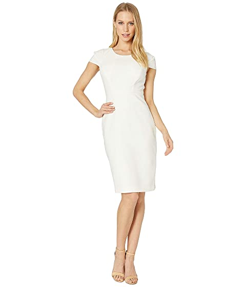 5f5aa4b21c Halston Heritage Short Sleeve Scoop Neck Fitted Dress at Zappos.com