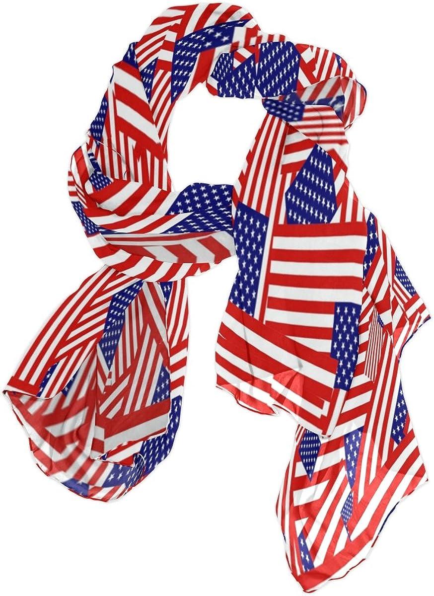 Use4 Bright Fashion American Flag Chiffon Silk Long Scarf Shawl Wrap