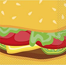 Unique Party 58701 - Burger Summer BBQ Cocktail Napkins, Pack of 16
