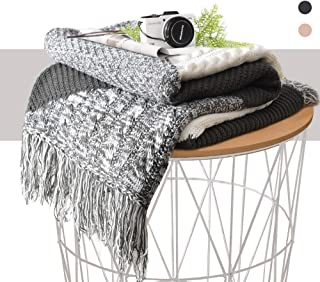 KAWAHOME Grey Knitted Throw Blanket Office Multi Color Handmade Tassel Elegant Decorative Textured Throw 50 X 60 Inches for Couch Sofa