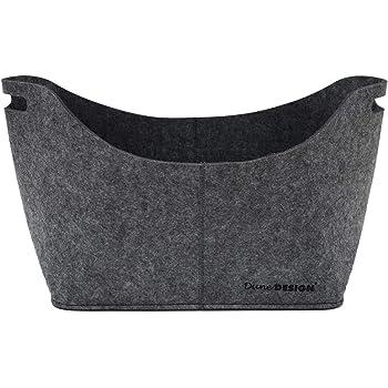 DuneDesign Bolsa XL de Fieltro Sintético 40x25x30cm para Compra leña 15kg Gris