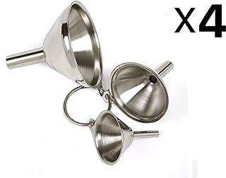 4 x Norpro 3-Piece Stainless Steel Funnel Set