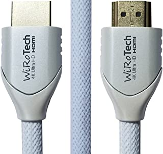 WiRoTech HDMI Cable 4K Ultra HD with Braided Cable, HDMI 2.0 18Gbps, Supports 4K 60Hz, Chroma 4 4 4, Dolby Vision, HDR10, ARC, HDCP2.2 (3 Feet, White)