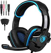 Latest Version PS4 Gaming Headphones, SADES SA708GT 3.5mm Stereo Bass Gaming Headset with Microphone,Noise Isolating Volume Control for PC/Mac/Xbox/Phone/Table(Black Blue)
