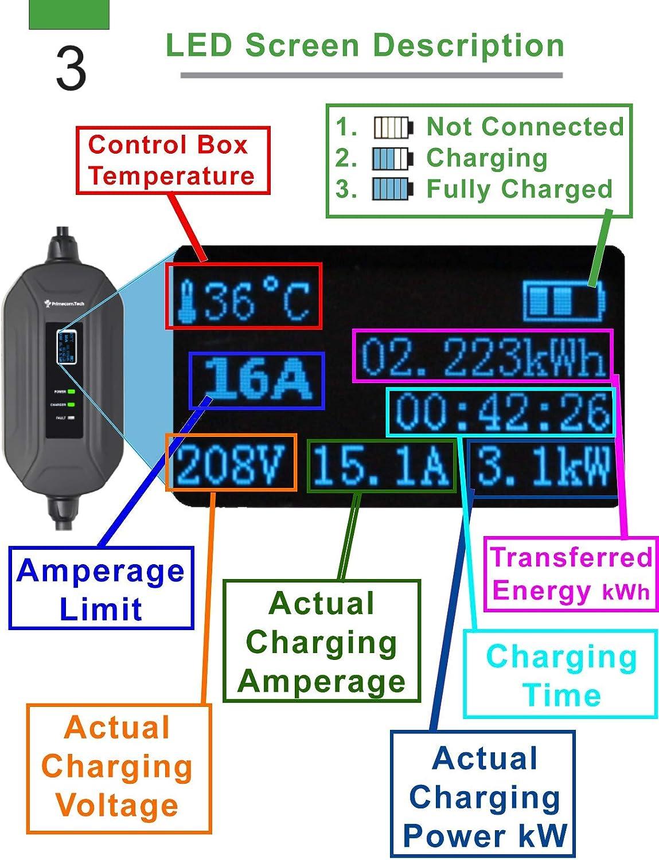 220V, 16Amp de nivel 2 de US Cargador de veh/ículo el/éctrico inteligente EVSE port/átil de 10 metros y 15 metros J1772 UK Schuko europeo EV Tipo 1 CEE Mennekes Cargador de veh/ículo el/éctrico