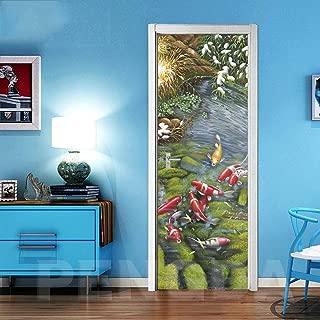 CHUANMT Etiquetas engomadas Pared Puerta 3D Etiquetas engomadas desprendibles Vinilo Papel Pintado 95x215cm Lindo pez de Colores para la decoración casera, Autoadhesivo Impermeable