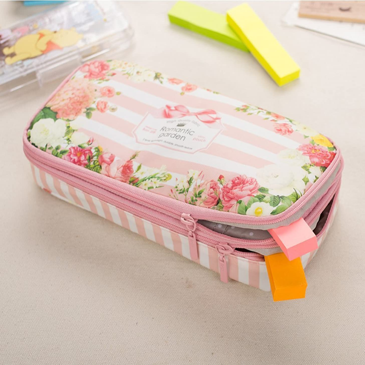 Waterproof Super Large Capacity Romantic Floral Garden Two Layers Double Zipper Pencil Case Pen Bag Holder Stationery Storage Pouch School Supplies for Girls (Pink)