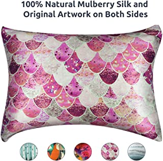 Artovida Premium 100% Natural Mulberry Silk Pillowcase for Hair and Skin, Hypoallergenic. Designer Prints from Artists Around The World - Monika Strigel (Germany) - Mermaid Blush (King)
