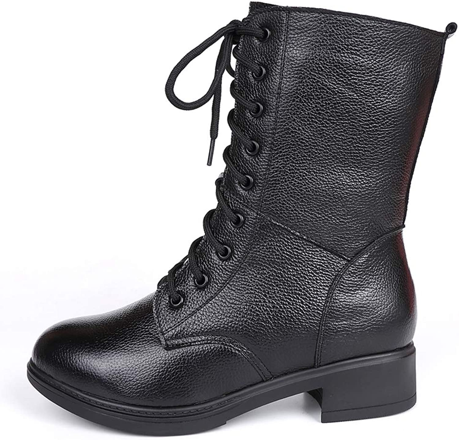 T-JULY Women Martin Motorcycle Boots Round Toe Genuine Leather Winter Mid Calf Boots Black Square Heel Lace up Ladies shoes