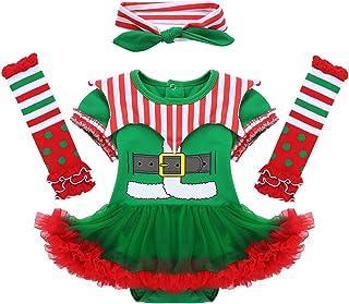 inlzdz 3 stücke Infant Baby Mädchen Strampler Kleider für Weihnachten Halloween Clown Cosplay Weihnachtself Outfit Set 0-12 Monate