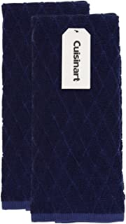 Cuisinart Bamboo Kitchen Towels, 2 Pack – The Perfect Kitchen Hand Towels for Drying Dishes or Hands - Soft, Absorbent and Anti-Microbial – Bamboo Cotton Blend – Navy Aura, Diamond Design