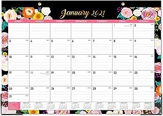 """Balck Lined Flower Desk Calendar 2021 Desk Calendar - Yearly Desk Calendar 2021, Desk/Wall Monthly Calendar Pad, 17"""" x 1..."""
