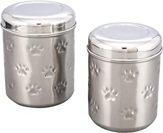 ARTISANS VILLAGE Pet Canisters, Pet Canister for Fresh & Dry Food Storage Container, Stainless Steel Canister with Bird Seed, Pet Food Canister for Dog & Cat, Large - Matt Shine