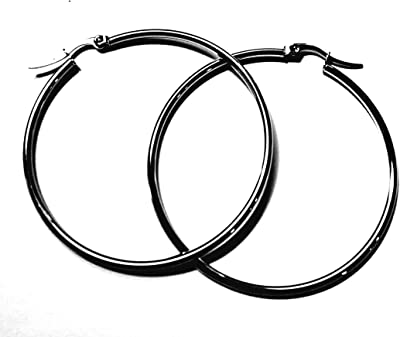 Orecchini a cerchio in acciaio inox da 45 mm.