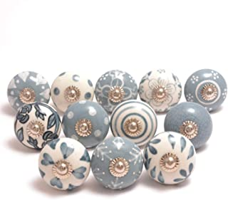 Eleet Assorted Ceramic Cabinet Knobs - Pack of 12 Grey & White Vintage Cabinet Cupboard Door & Drawer Pulls Chrome Hardwar...