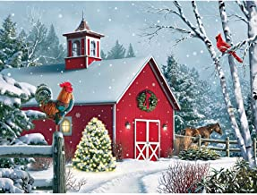 Bits and Pieces - 500 Piece Jigsaw Puzzle for Adults - Winter Barn II - 500 pc Christmas Holiday Horse Jigsaw by Artist Alan Giana