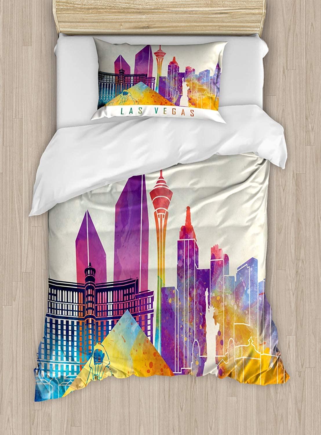 VpinkLV-HOME Las Vegas Duvet Cover Set Twin Size colorful Landmarks in Las Vegas Pyramid and Statue of Liberty in Watercolors,with 1 Pillowcase for Kids Bedding,Multicolor