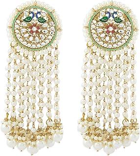 Zaveri Pearls Multicolor Meenakari Peacock Inspired Long Pearl Hangings Earring For Women-ZPFK10788