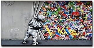 HYY-YY Bansky Graffiti Street Art Toile d'ombre Peintures sur Toile Affiches Impressions Art Mural Image Salon Chambre à C...