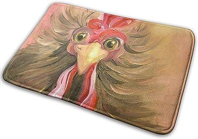 Color Rooster Bath Mat Oil Painting Rooster Non Slip Super Bathroom Rug Indoor Carpet Doormat Floor Dirt Trapper Mats Shoes Scraper 24x16 Inch