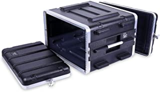 "Crossrock Stackable 6U Rack Case, Strong Molded with Heavy Duty Hardware, Standard 19.25"" Depth(CRA8606U)"