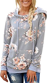 Women Hoodies-Tops- Floral Printed Long Sleeve Pocket Drawstring Sweatshirt with Pocket