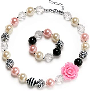 Rose Girls Cute Chunky Bubblegum Necklace and Bracelet Set Girls' Birthdays Day Gift