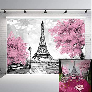 8x12 FT Eiffel Tower Vinyl Photography Backdrop,Eiffel Natural Flowers Colorful Blossoms Cloudy Sky Perspective Paris Print Background for Baby Birthday Party Wedding Studio Props Photography