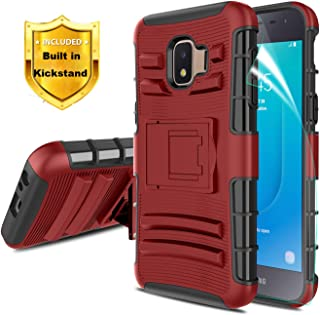 Dingoo for Samsung Galaxy J2 2018 Case,Galaxy J2 Core/Galaxy J2 Dash/Galaxy J2 Pure/Galaxy J2 Shine Phone Case w/Kickstand&Screen Protector[Hybrid Dual Layer] Heavy Duty Protective Cover,PC-red