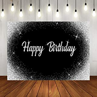 Happy Birthday Backdrop Glitter Silver Dots and Black Photography Background 7x5ft Birthday Party Decorations Banner for A...