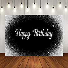 Happy Birthday Backdrop Glitter Silver Dots and Black Photography Background 7x5ft Birthday Party Decorations Banner for Any Age Men Women