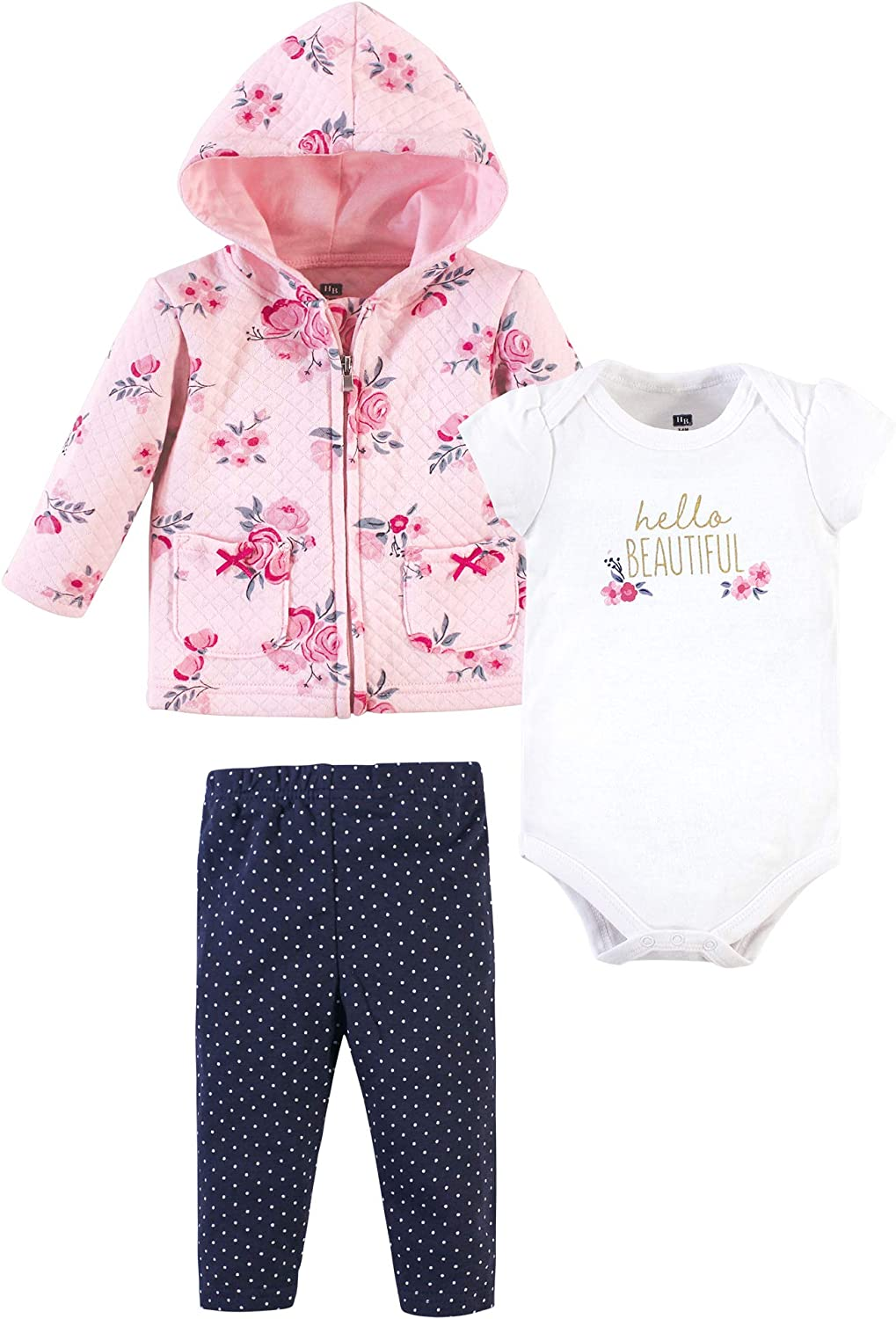 Hudson Baby Unisex Baby Premium Quilted Hoodie, Bodysuit and Pant