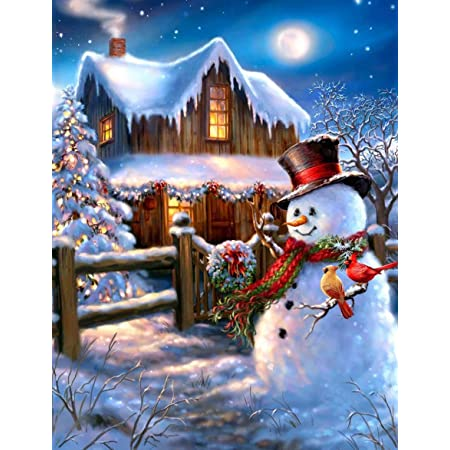 Christmas Diamond Painting Kits for Kids Adults Round Full Drill Crystal Rhinestone Embroidery Arts Craft for Home Wall Decor Christmas