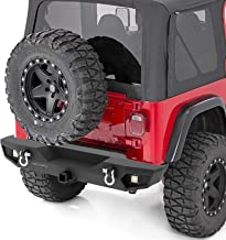 oEdRo Rear Bumper, Compatible for 87-06 Jeep Wrangler TJ & YJ, Rock Crawler Bumper with Hitch Receiver, 2X LED Lights Off Road Textured Black Bumper