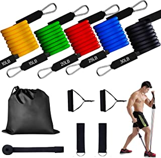 YOMYM Resistance Band Set Includes 5 Stackable Exercise Bands with Handles, Carry Bag, Ankle Straps and Door Anchor Accessory