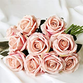 Louiesya Artificial Flowers 6pcs of Fake Rose Flower Bouquet Floral Plants Decor for Home Garden Wedding Party Decor Decoration,Champagne