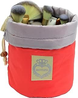 HOYOFO Makeup Bags Travel Drawstring Bags Cosmetics Barrel Bag Quick Packing Storage, Pink