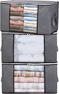 """H.C Housecraft 3PCS Clothes Storage Bags for Blankets Comforters Closet Bedding & Bedrooms, Foldable Organizer for Large Capacity Storage with Clear Window & Reinforced Handle 23"""" x 15"""" x 13.5"""""""