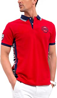 Mens USA Color Block Patch Pique Polo Shirt