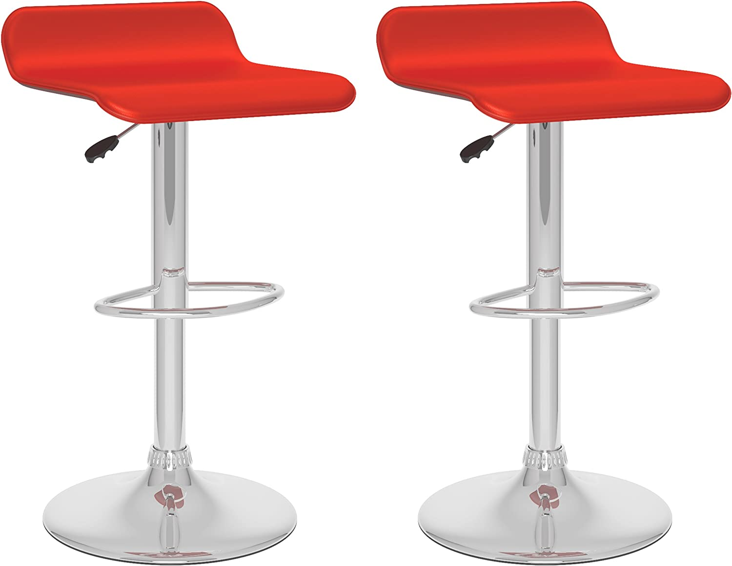 CorLiving B-852-VPD Curved Adjustable Bar Stool, Red Leatherette, Set of 2