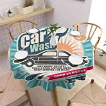 SONGDAYONE Camping Picnic Round Tablecloth 1950s Decor Picnic Cloth Retro Car Wash Auto Service Repair Poster Style Art in Vintage Color Classic Design Print (Round,63 Inch) Multi