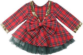 240721cde8e15 Greetuny Princesse Bébé Fille Robe à Carreaux Rouge +Tutu Jupes Vert 2pcs  Robe de Soiree