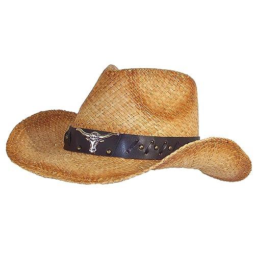 Stone Age Adult Straw Cowboy Hat W Band W Large Metal Longhorn (One 4b1aa4752ea5