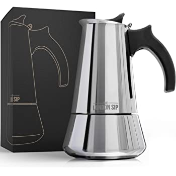 Stainless Steel Induction Stovetop Espresso Maker - Make Cafe Quality Italian Style Coffee at Home with This Premium Moka Pot in Modern Chrome, by the London Sip Company. (Silver, 6 Cup)